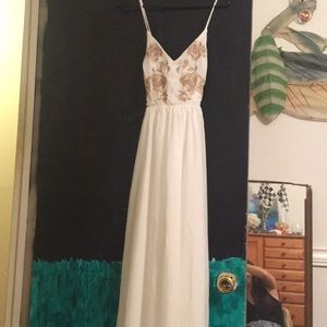 White Maxi Dress W/ Embroidered Roses